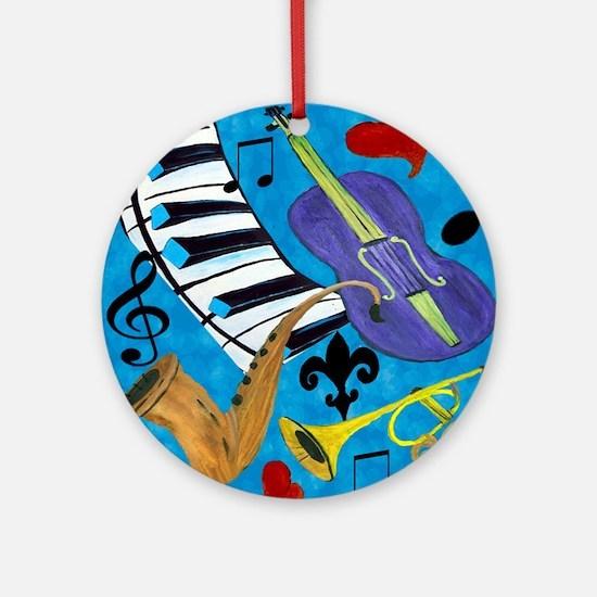 Jazz on Blue Round Ornament