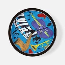 Jazz on Blue Wall Clock