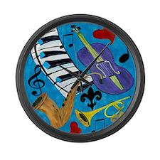 Jazz on Blue Large Wall Clock