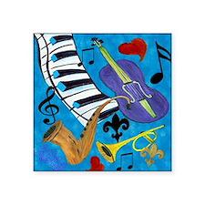 "Jazz on Blue Square Sticker 3"" x 3"""