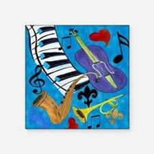 "Jazz on Blue Square Sticker 3"" x 3"""