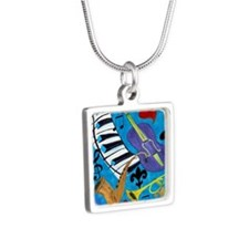 Jazz on Blue Silver Square Necklace