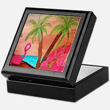 Flamingo in Paradise Keepsake Box