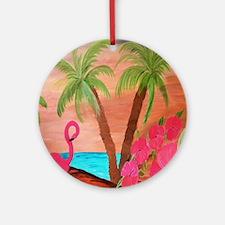 Flamingo in Paradise Round Ornament