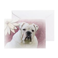 bulldog with pink background Greeting Card