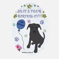 Happy Birthday from Pit Bull Oval Ornament