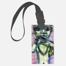 African Horn Player Luggage Tag