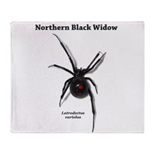 Northern Black Widow with text Throw Blanket