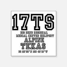 "TEXAS - AIRPORT CODES - 17T Square Sticker 3"" x 3"""