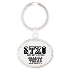 TEXAS - AIRPORT CODES - 2TX0 - BLUE  Oval Keychain