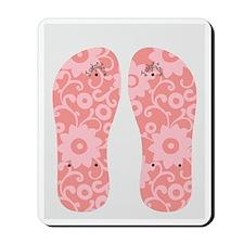 JunkyDotCom Flower Flip Flops Mousepad