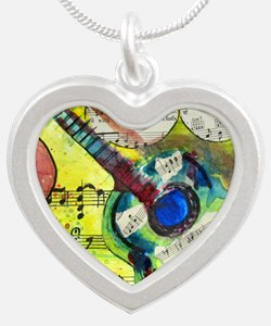 Heidelberg Guitar Silver Heart Necklace