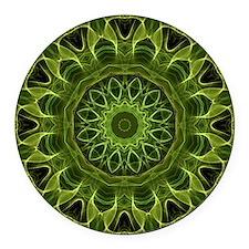 Green Flower kaleidoscope Round Car Magnet