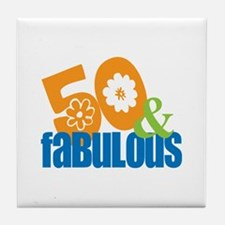 50th birthday & fabulous Tile Coaster