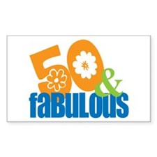 50th birthday & fabulous Rectangle Decal