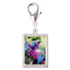 Colorful Abstract Butterfly Silver Portrait Charm