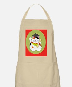 Graduation Maneki Neko wide red Apron