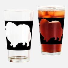 White Pomeranian Silhouette Drinking Glass