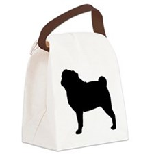 Pug Silhouette Canvas Lunch Bag