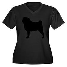 Pug Silhouet Women's Plus Size Dark V-Neck T-Shirt