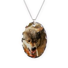 Portrait of wolf growling Necklace