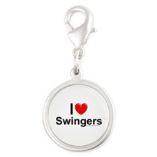 Swingers Silver Round Charm
