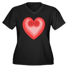 Pink Heart / Women's Plus Size Dark V-Neck T-Shirt