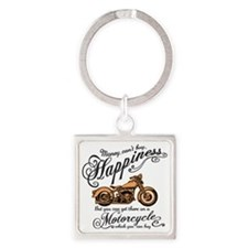 Happiness - Motorcycle Square Keychain