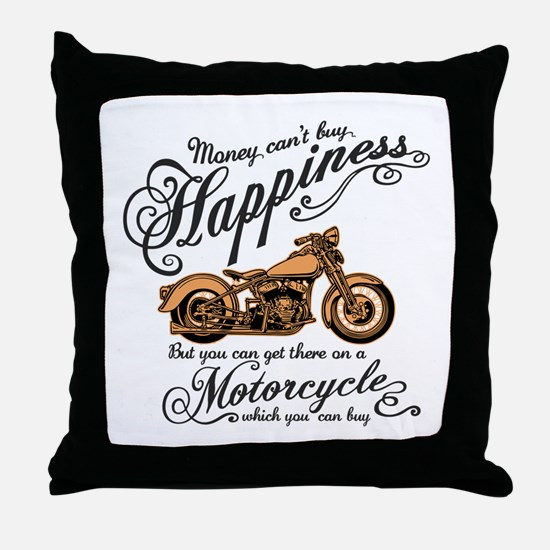 Happiness - Motorcycle Throw Pillow