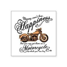 "Happiness - Motorcycle Square Sticker 3"" x 3"""
