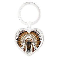 Native War Bonnet 01 Heart Keychain