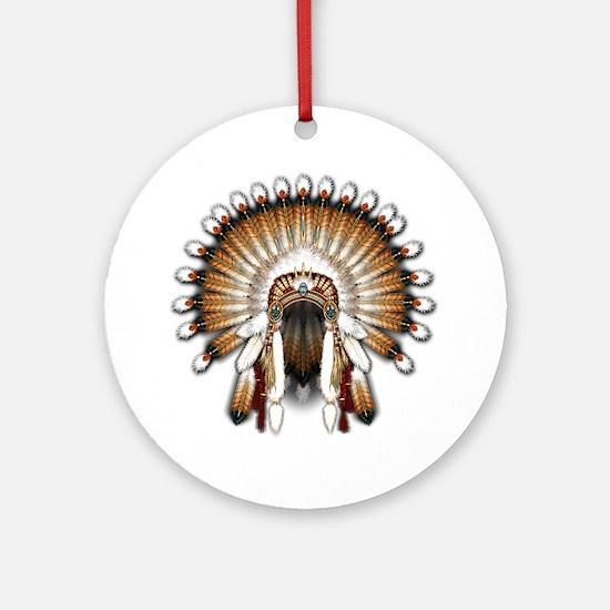 Native War Bonnet 01 Round Ornament