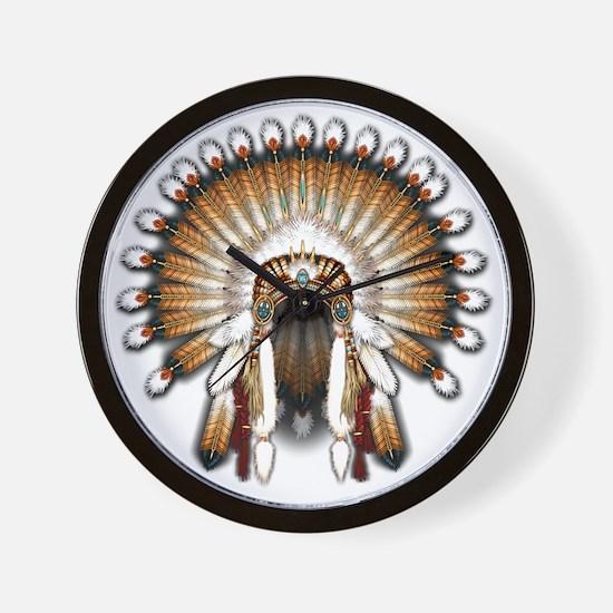 Native War Bonnet 01 Wall Clock