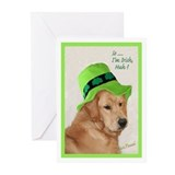 Golden retriever st patrick\'s day Greeting Cards (10 Pack)
