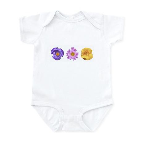 Colorful 3-Flower Infant Bodysuit