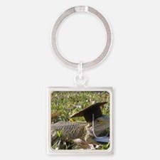 Graduate Spiny the Lizard Square Keychain