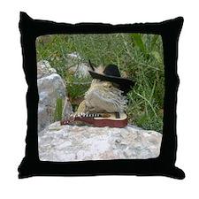 Musician Spiny the Lizard Throw Pillow