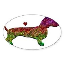 Dachshund - Crazy Love white letter Decal