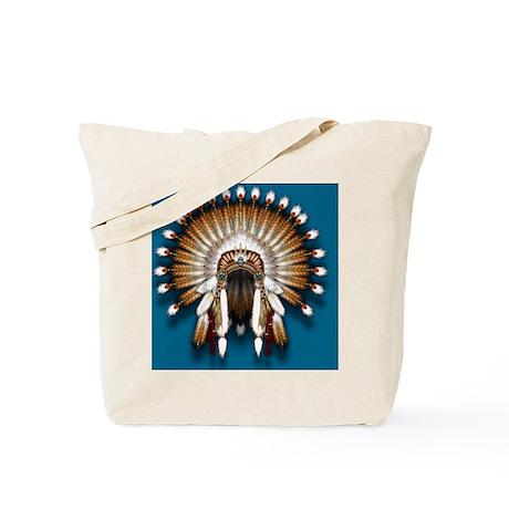 Native War Bonnet 01 - blue back Tote Bag