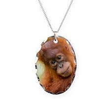 Young Sumatran orangutan Necklace Oval Charm