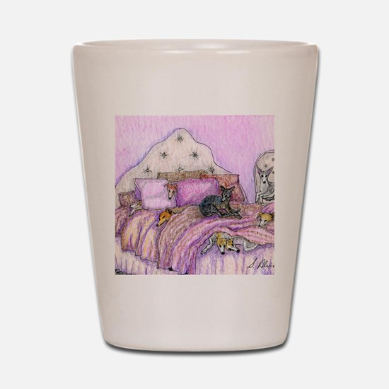 Sighthounds slumber party Shot Glass