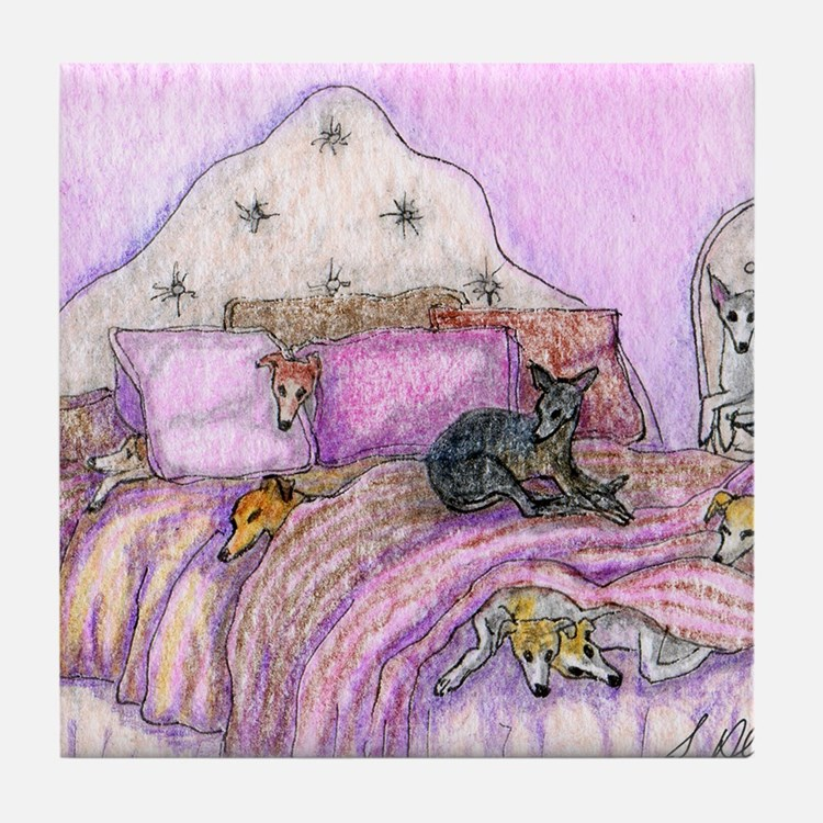 Sighthounds slumber party Tile Coaster