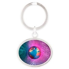 World wide web, conceptual artwork Oval Keychain