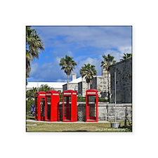 Bermuda Phone Booths Square Sticker 3&Quot; X 3&Qu
