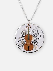 Violin Swirls Necklace Circle Charm