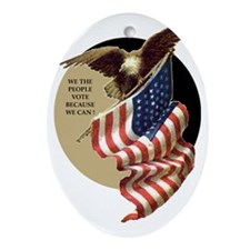 VOTE EAGLE AND FLAG Oval Ornament