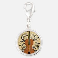 Violin Swirls Silver Round Charm