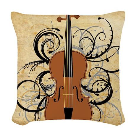 Violin Swirls Woven Throw Pillow