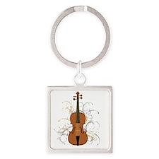 Violin Swirls (for dark colours) Square Keychain