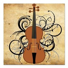 "Violin Swirls Square Car Magnet 3"" x 3"""